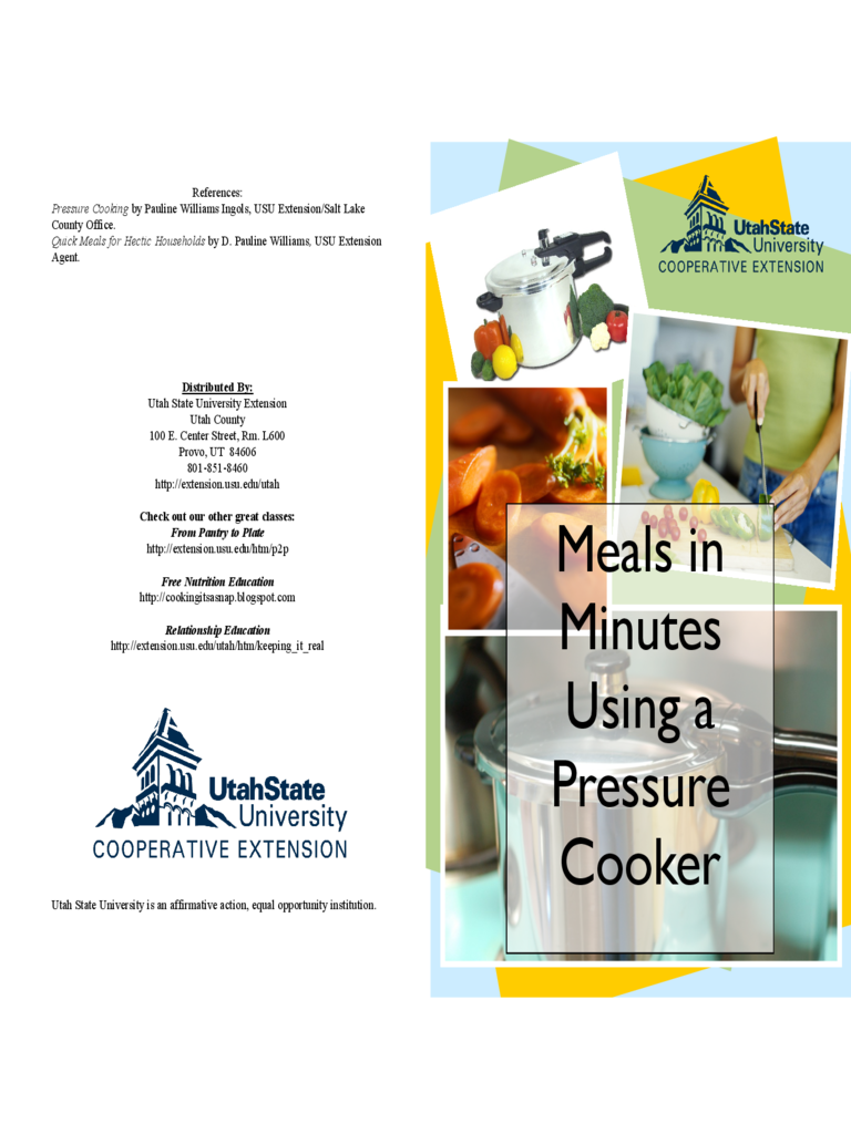 Meals in Minutes Using a Pressure Cooker