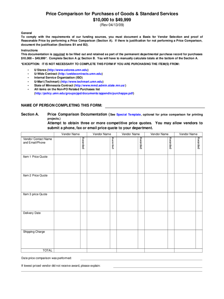 Price Comparison for Purchases of Goods and Standard Services Free Download