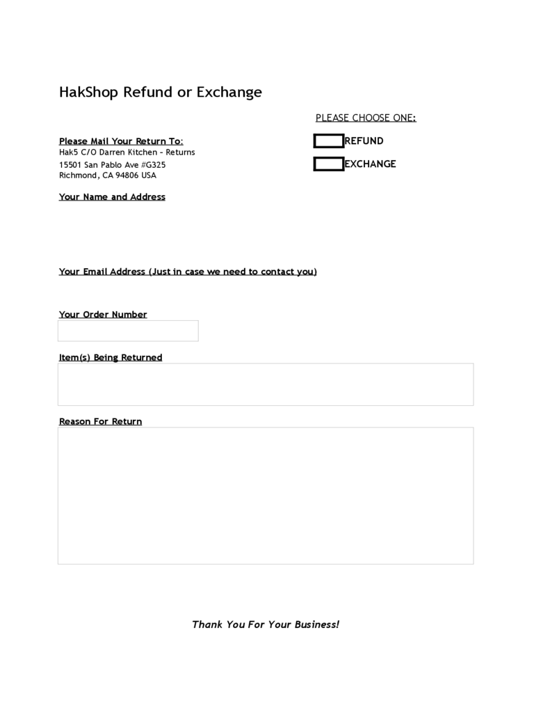 Price Refund or Exchange Template