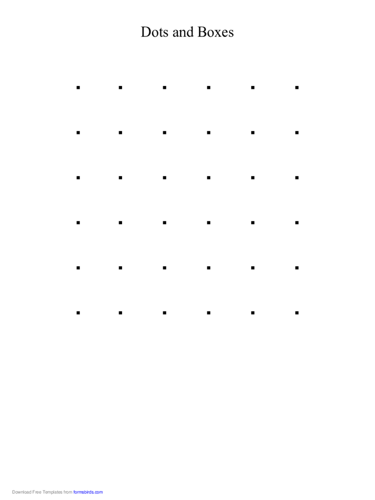 Printable Dots and Boxes Game Free Download