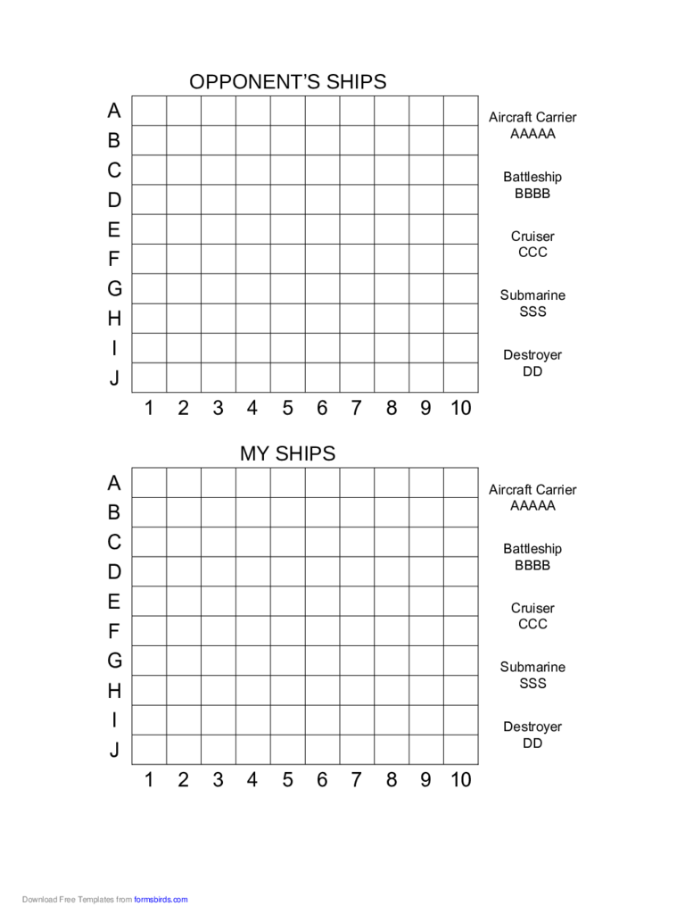 Printable Battleship Game Free Download