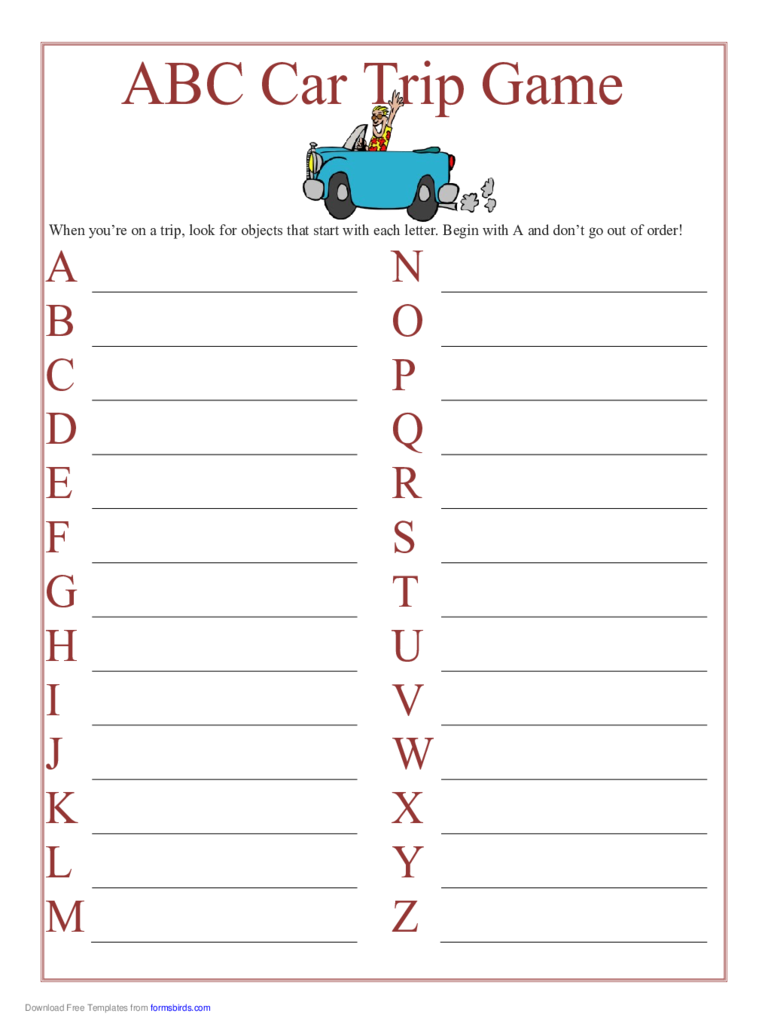 Printable ABC Car Trip Game Free Download