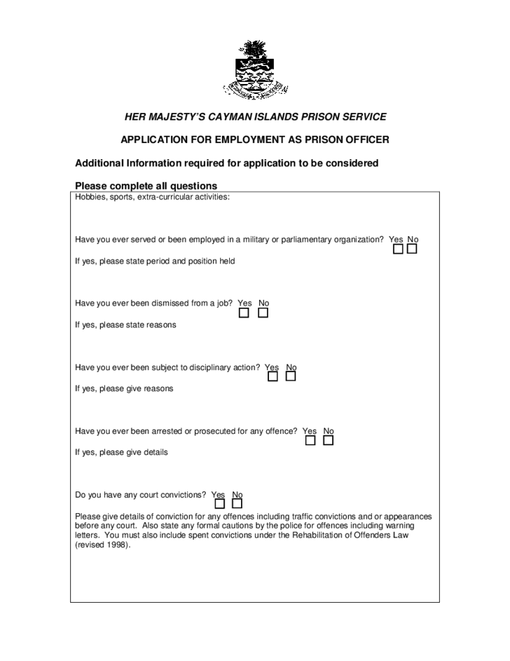 prison service application form