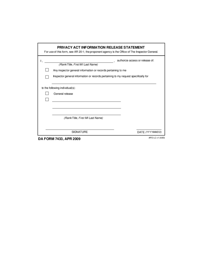 1 Privacy Act Information Release Statement Form