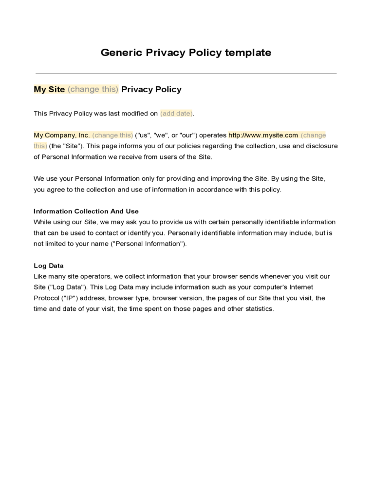 Generic Privacy Policy Template Free Download