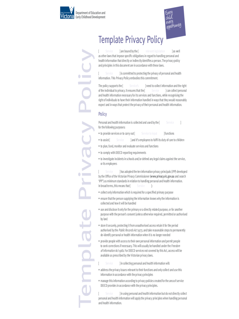 Template Privacy Policy