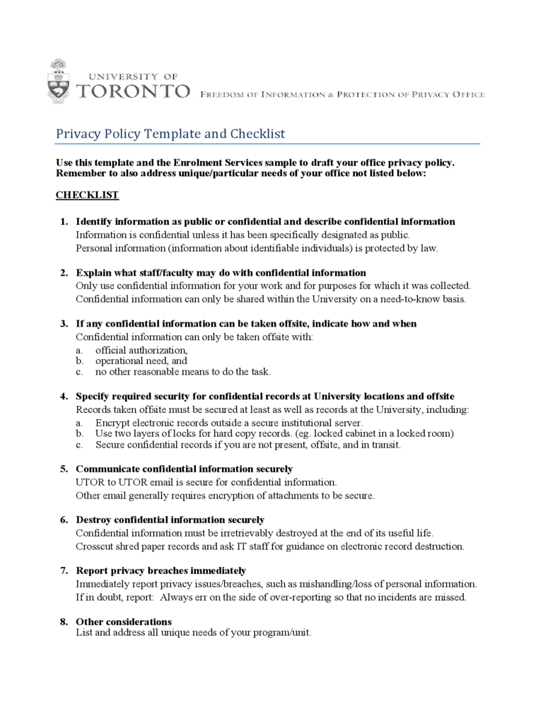 Privacy Policy Template and Checklist