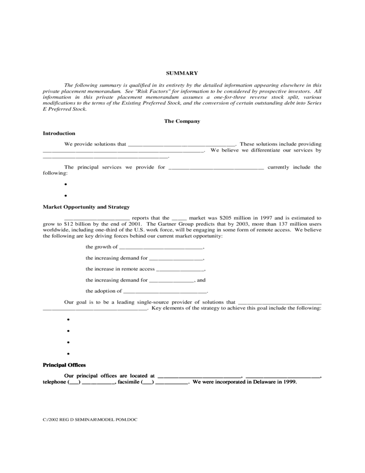 Sample Private Placement Memorandum Free Download