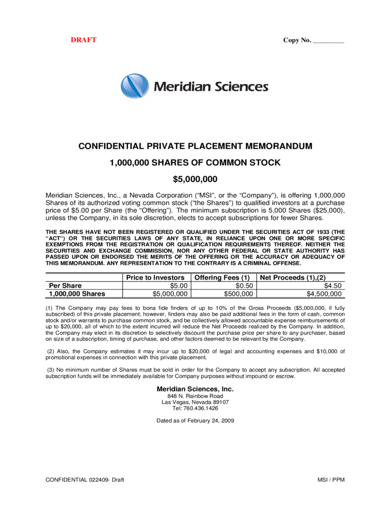 Confidential Private Placement Memorandum