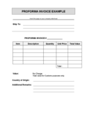Proforma Invoice Template Example Free Download