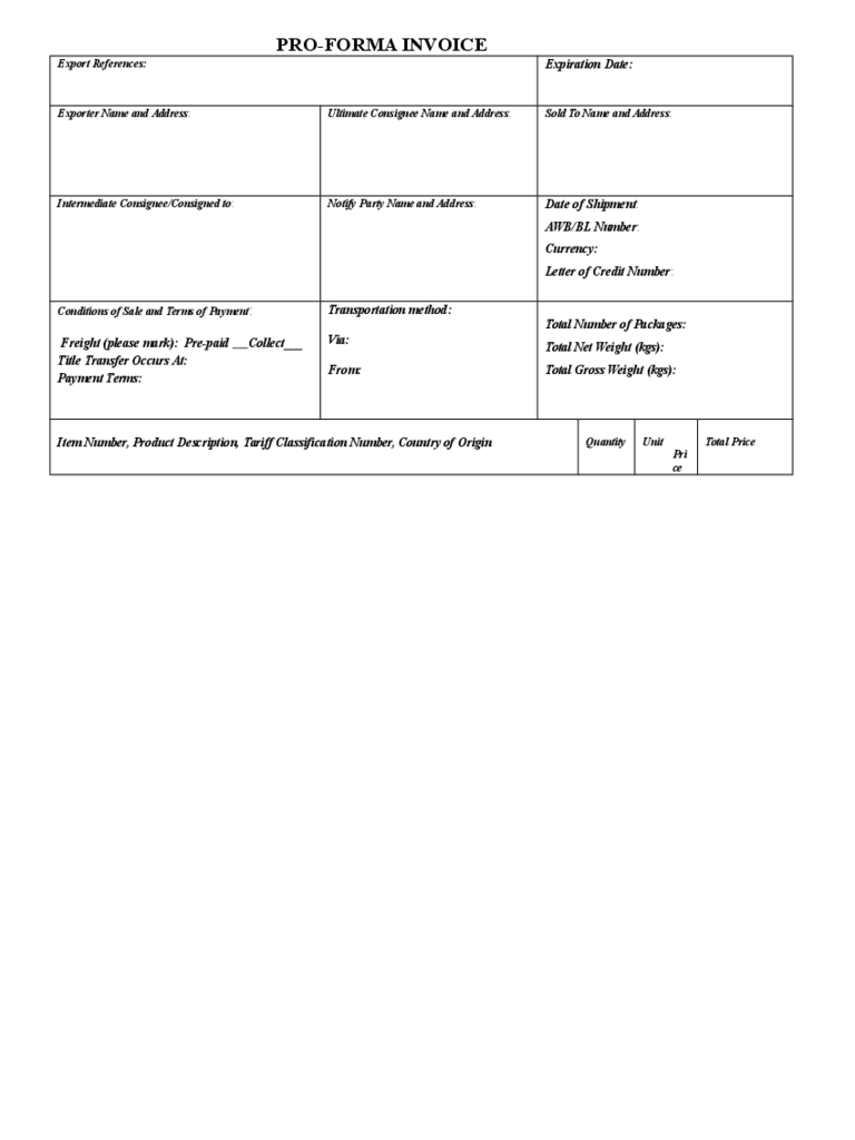 Blank Pro Forma Invoice Template