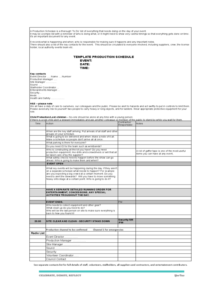 Production Timeline Template 2 Free Templates in PDF Word – Production Timeline Template
