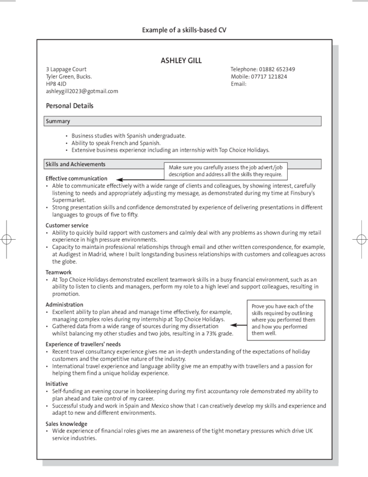 Example Of A Skills Based CV  Experience Based Resume