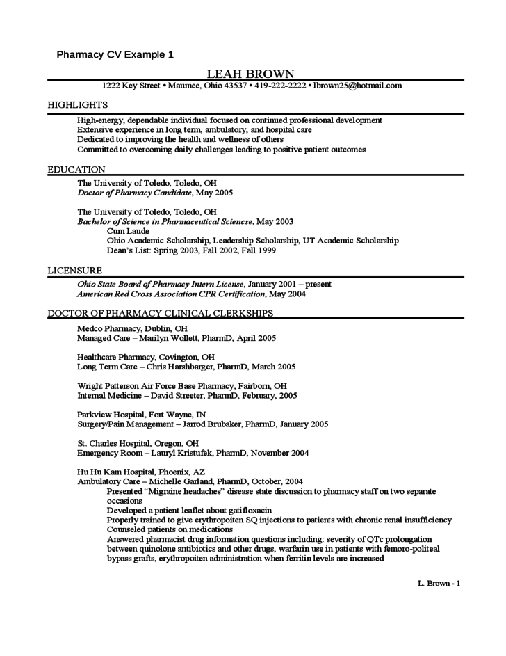 resume in the field of pharmacy free download
