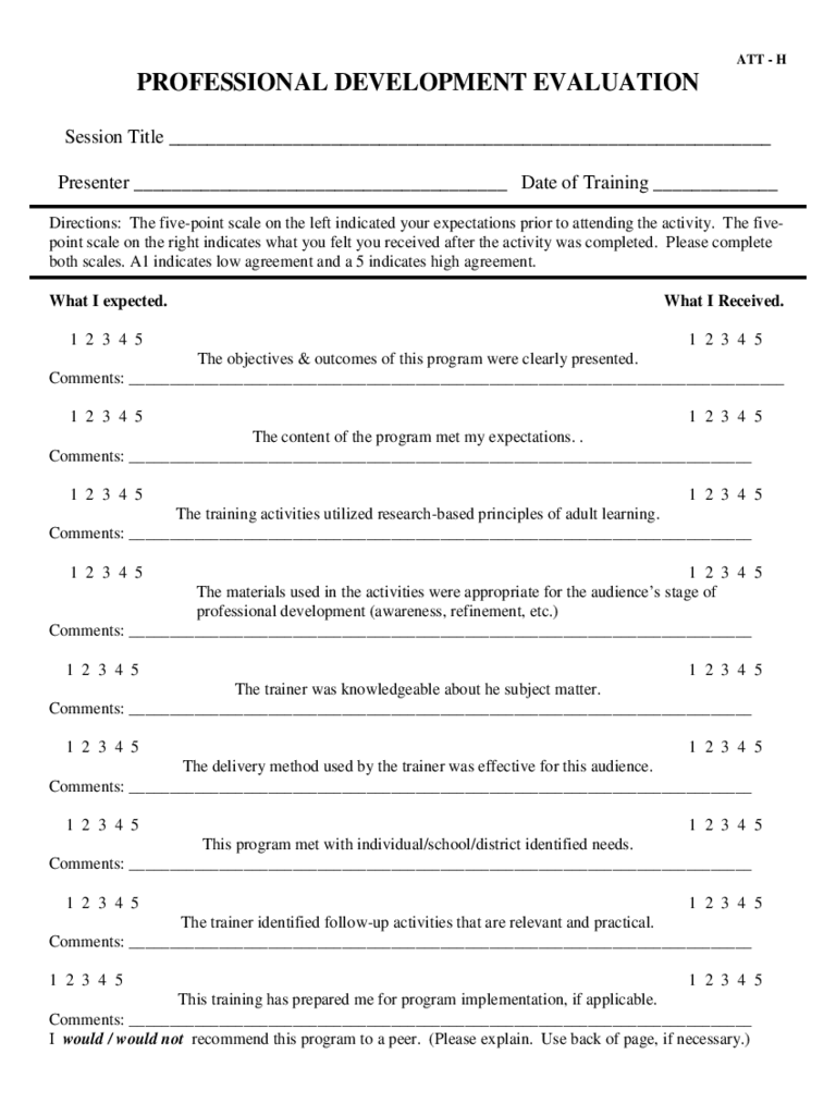 Professional Development Evaluation Form 2 Free