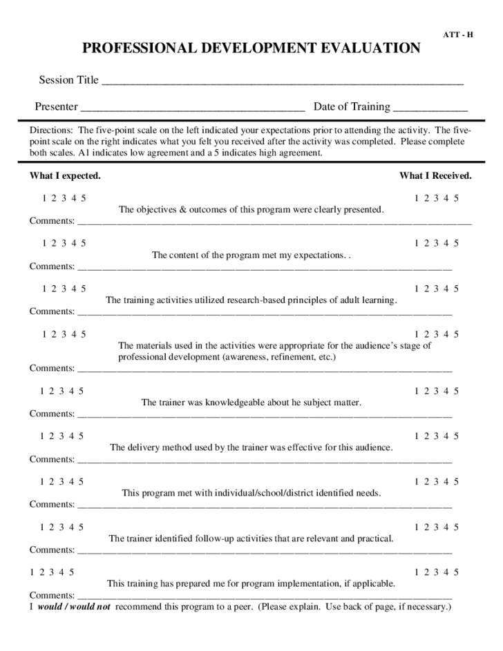 professional development evaluation form Professional Development Evaluation Free Download