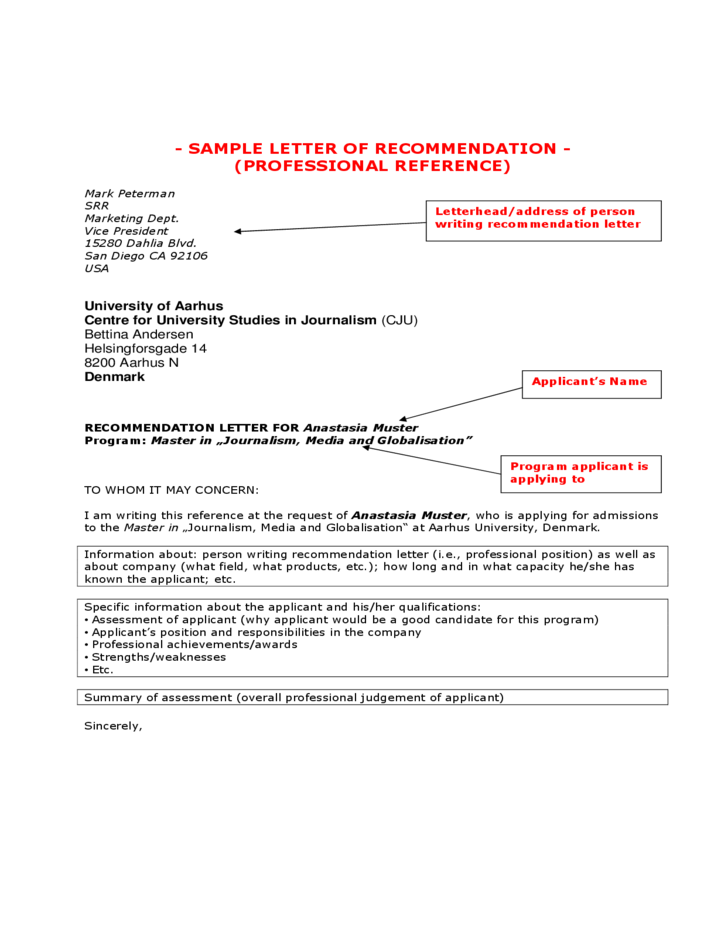 sample letter of professional reference free download