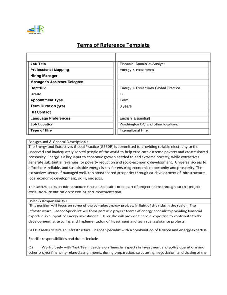 Terms of reference template free download for Pmo terms of reference template