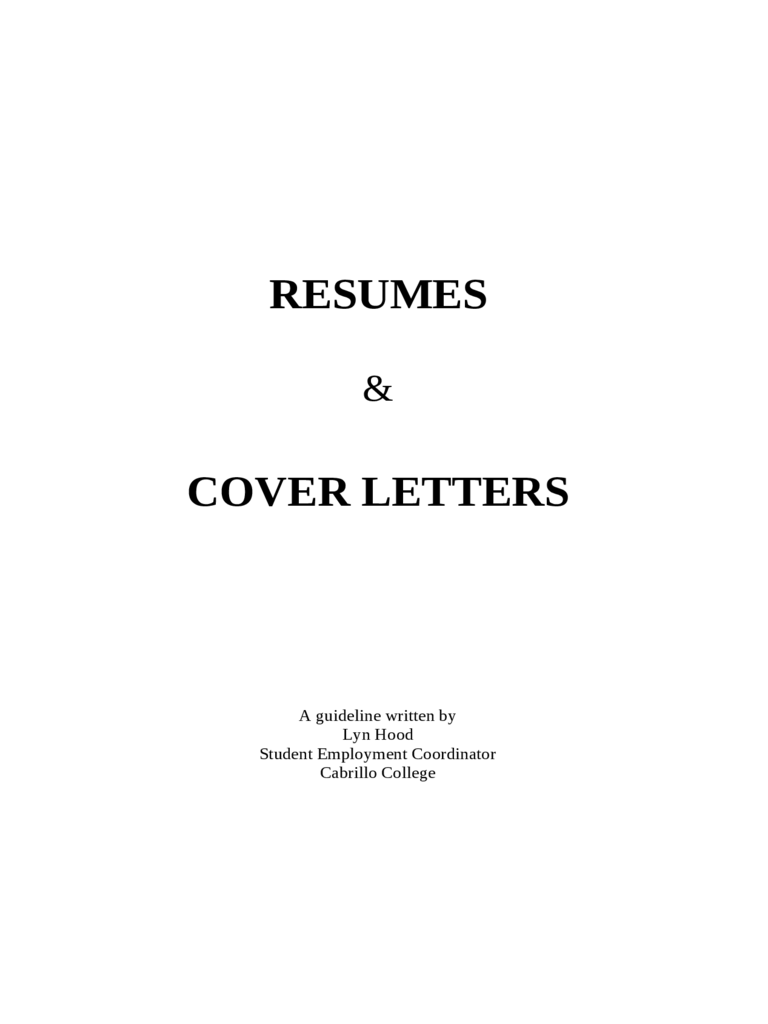 Resumes and Cover Letters Free Download