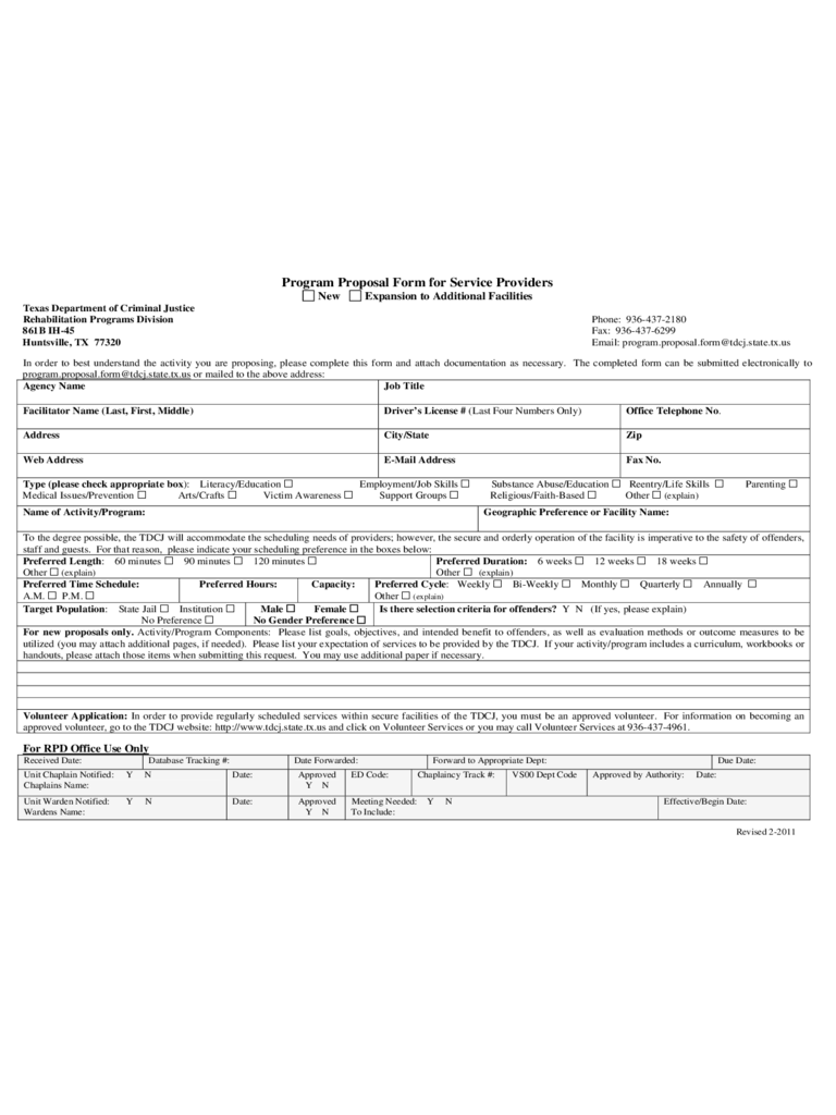 Program Proposal Form for Service Providers