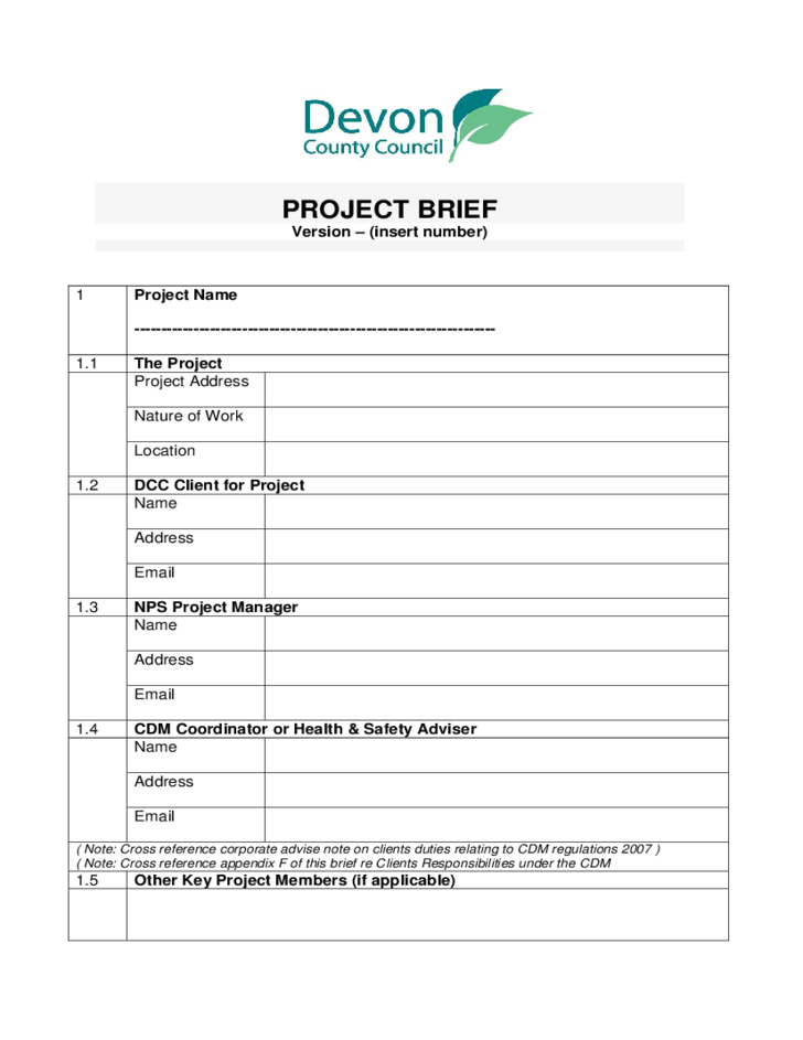 press release brief template - project brief sample free download