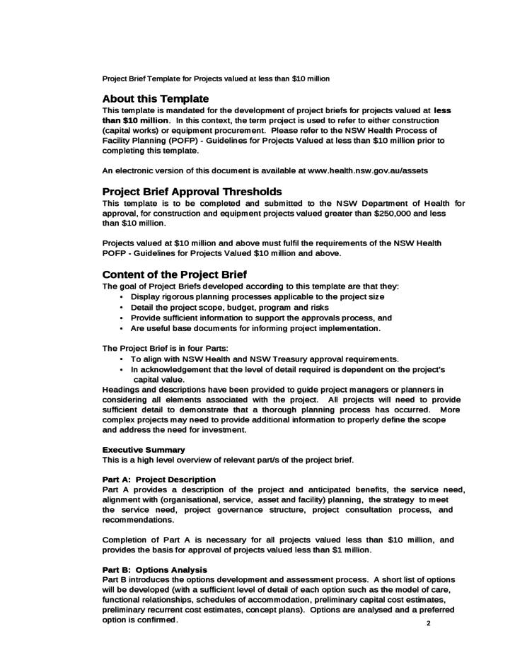 Doc585615 Project Brief Template Sample Project Brief – Executive Summary Outline Template