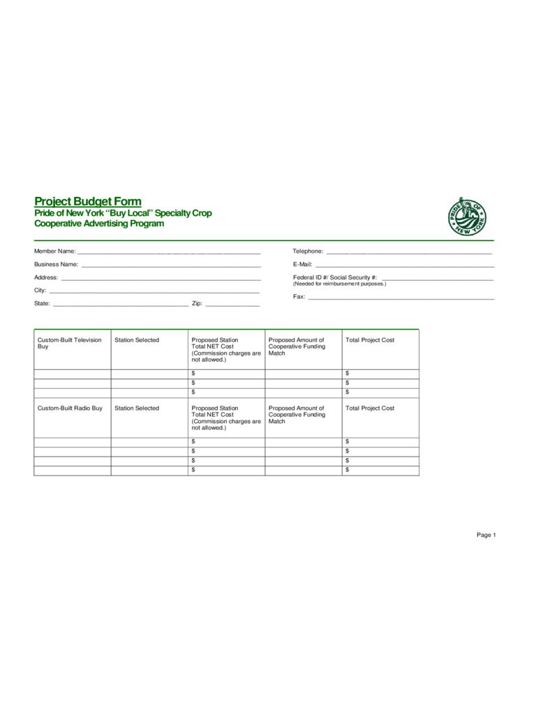 Project Budget Form - Pride of New York