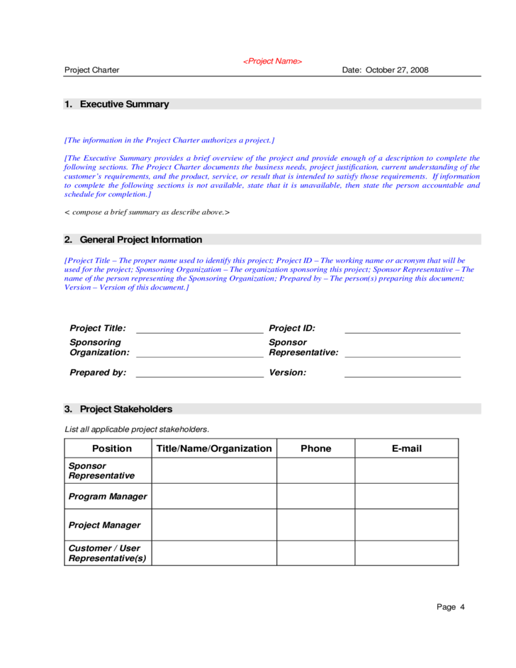 Project charter sample free download for One page project charter template