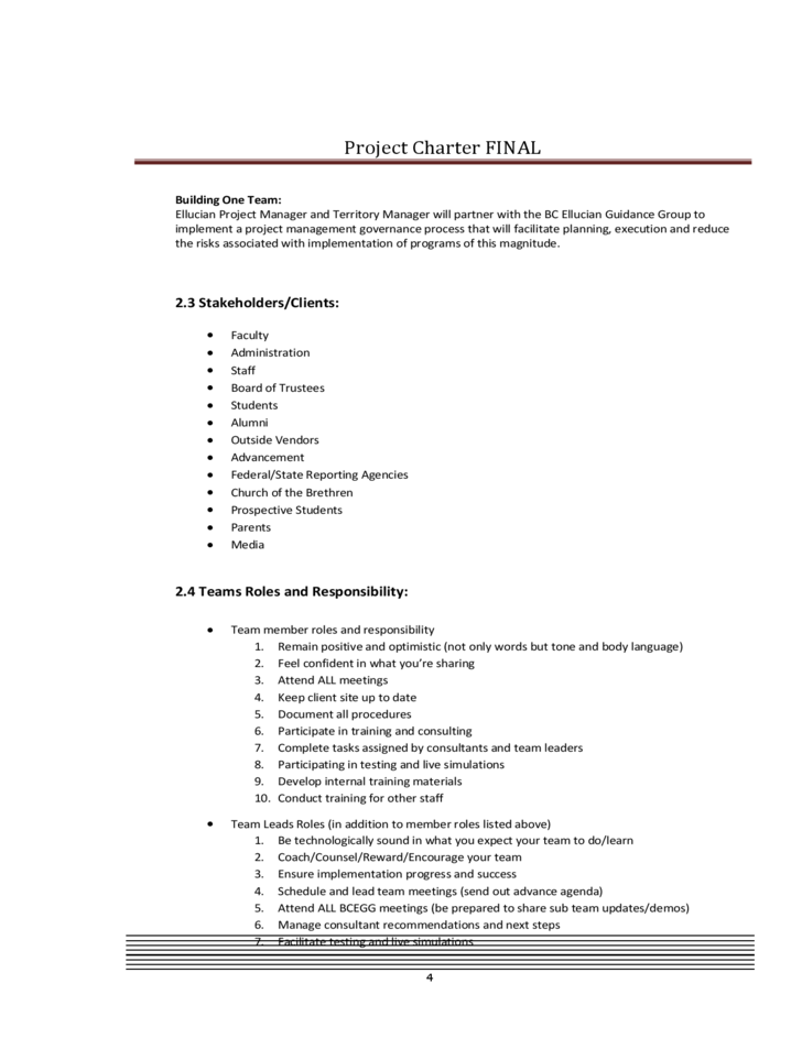 Project Charter Document - Bridgewater College Free Download