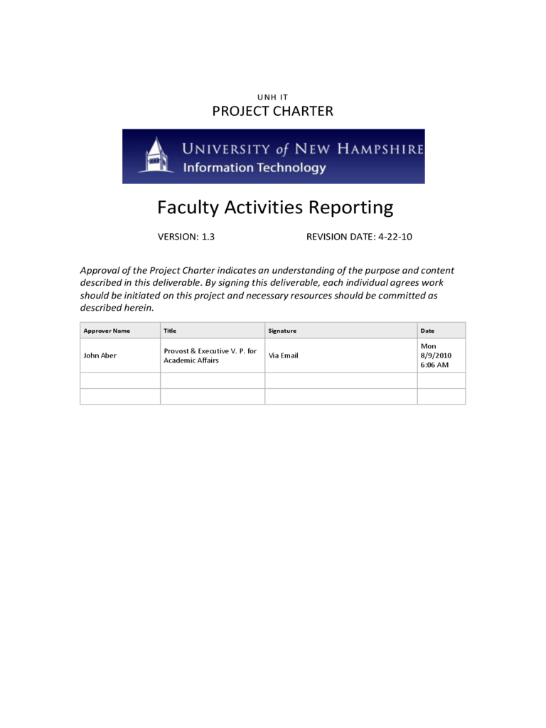 FAR Project Charter - University of New Hampshire Free Download