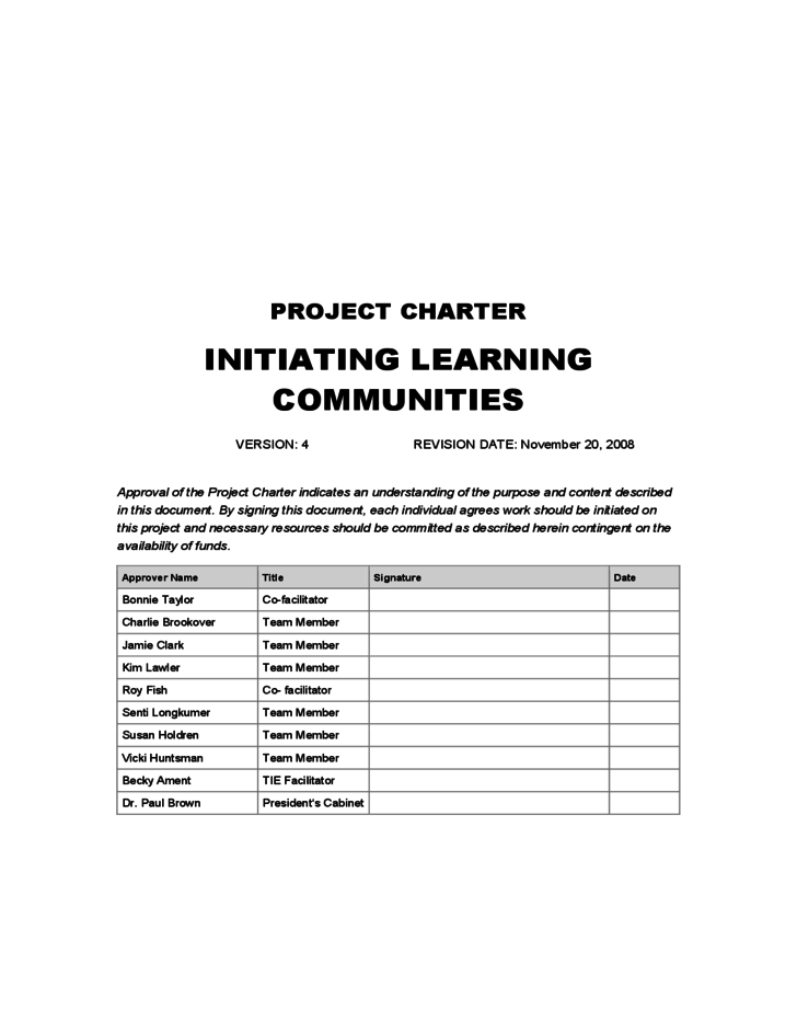 one page project charter template - project charter template zane state college free download