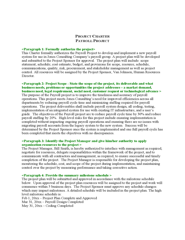 sample project charter free download