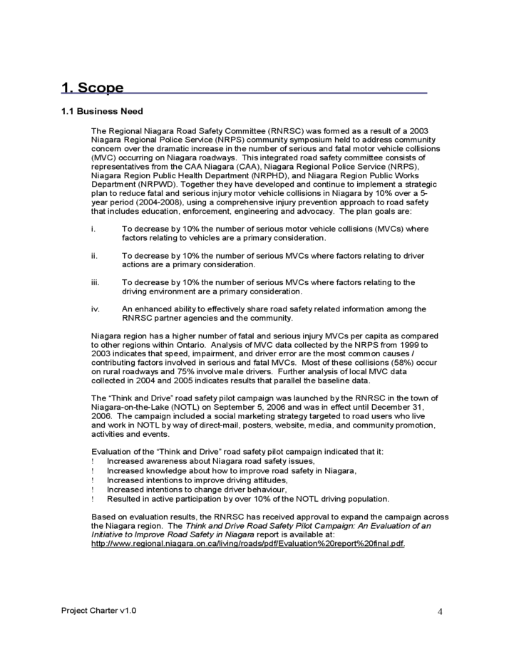 Project Charter Sample Template Free Download
