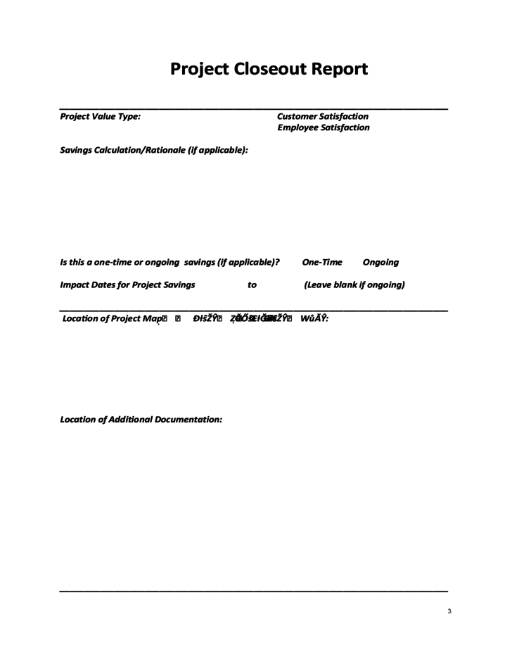 3 Project Closeout Report Template