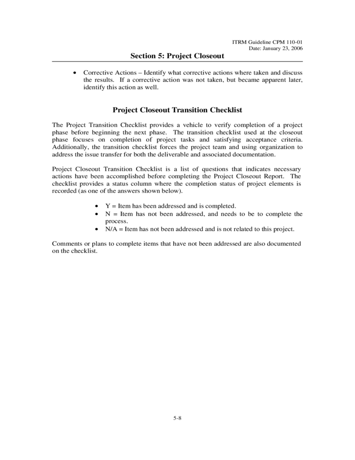 8 Project Closeout Template Virgina