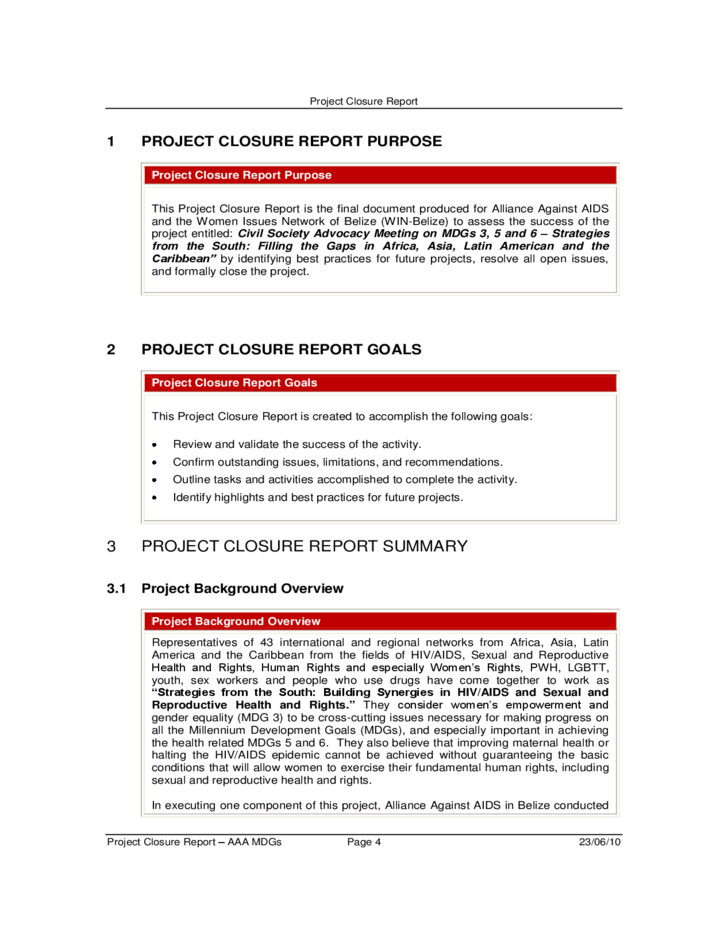 Project closure report free download for End of project report template