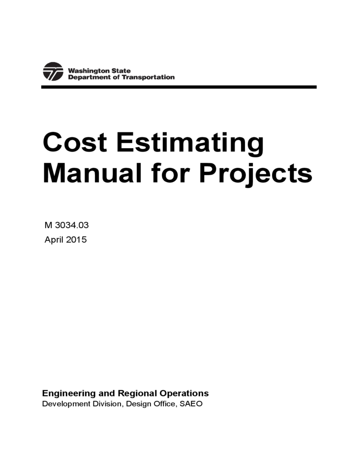 Cost Estimating Manual for Projects