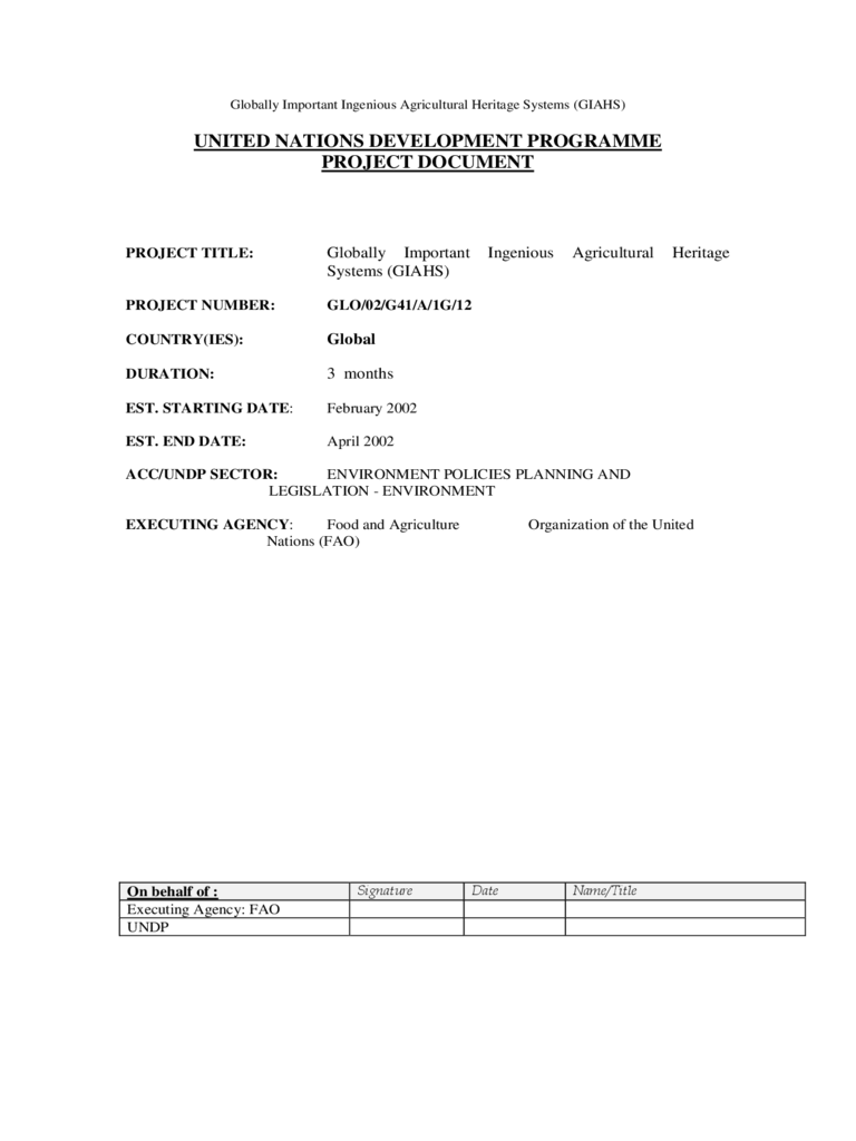 Project Documentation Template - United Nations