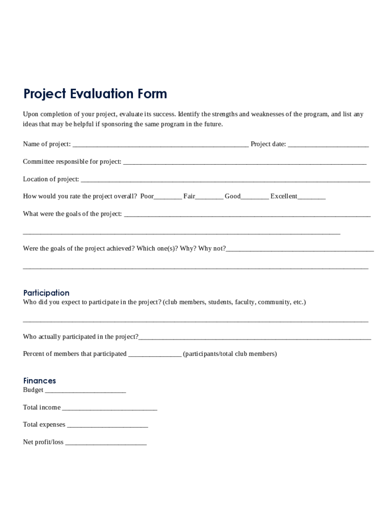 Project Evaluation Form Sample