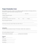 Project Evaluation Form Sample Free Download