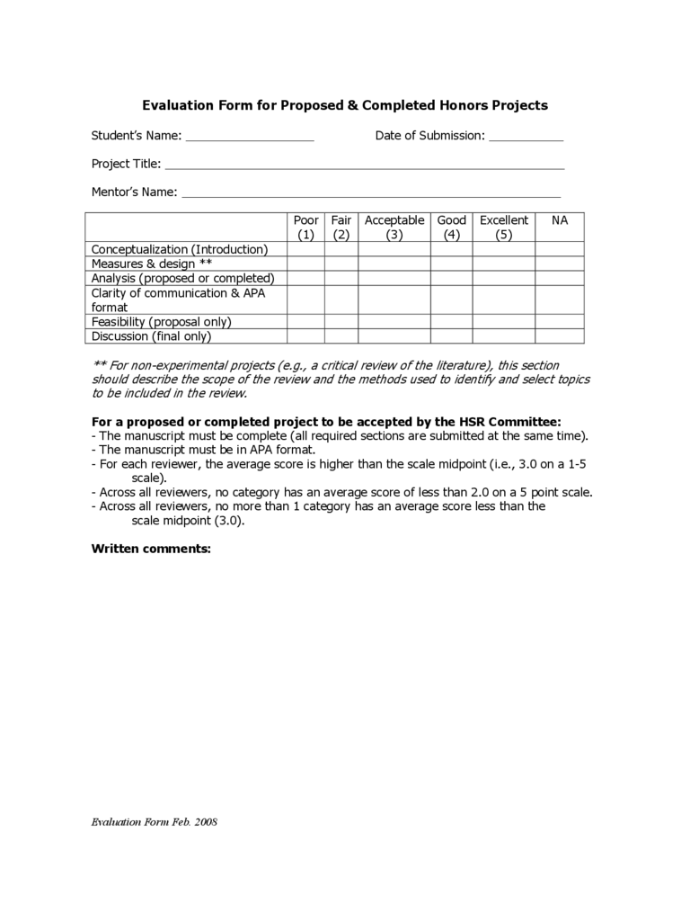 Project Evaluation Form - New York