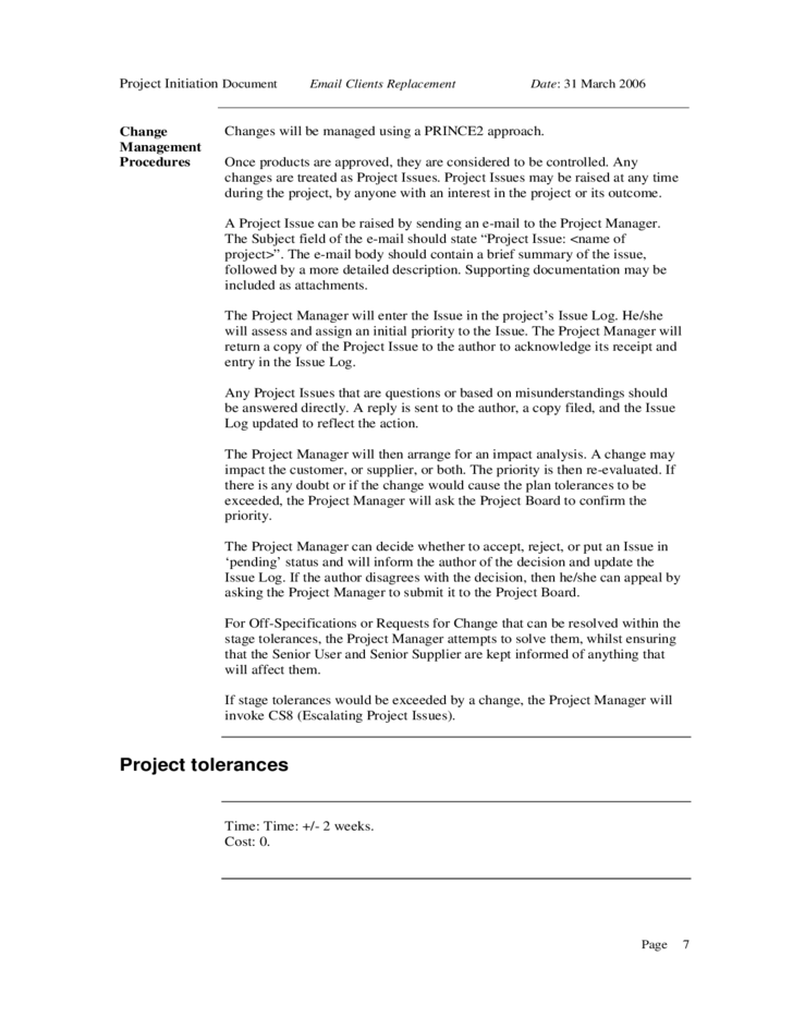 project initiation document sample free download