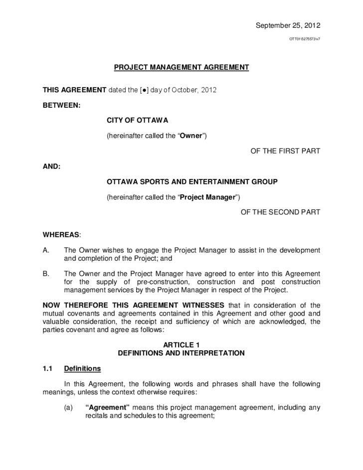 Project Management Agreement Template project management – Management Agreement