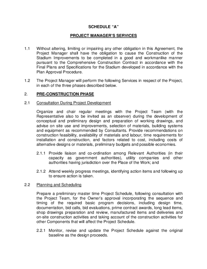 Project Management Agreement Ottawa Free Download