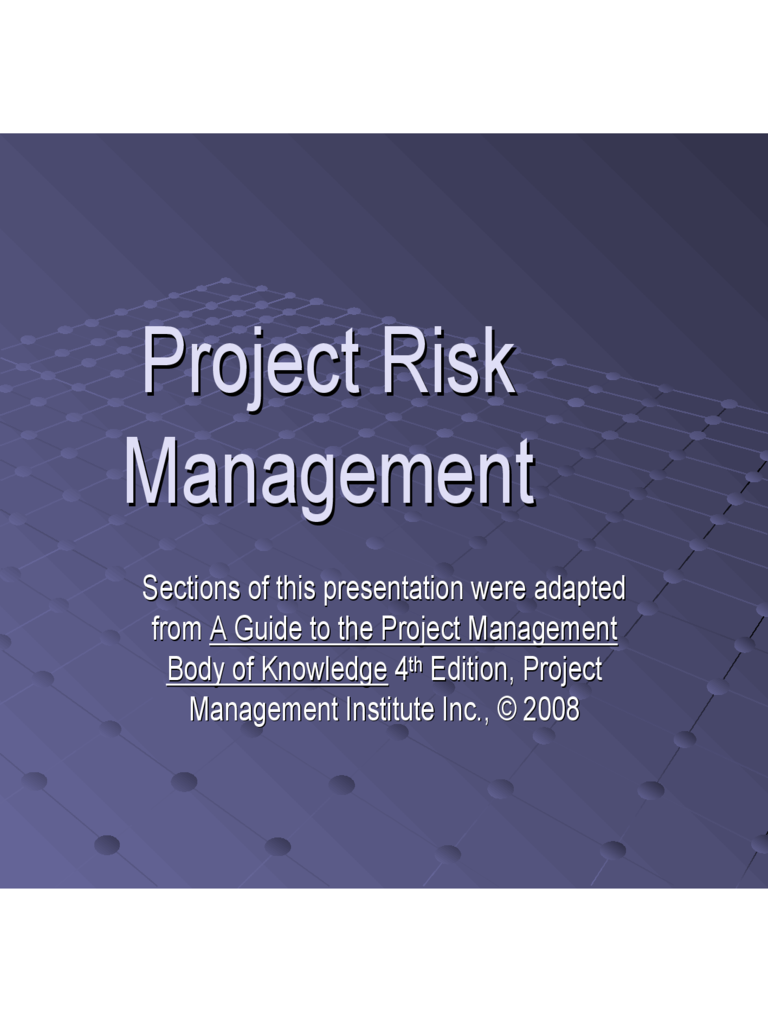 Project Risk Management PPT Free Download