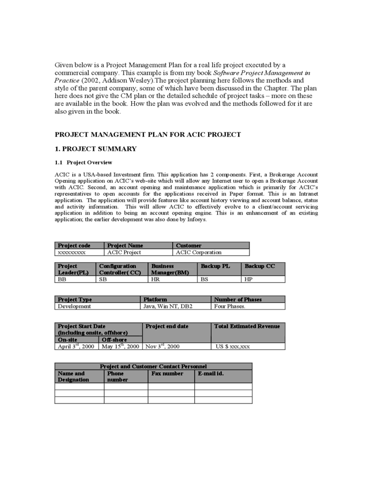 1 Project Management Plan Template