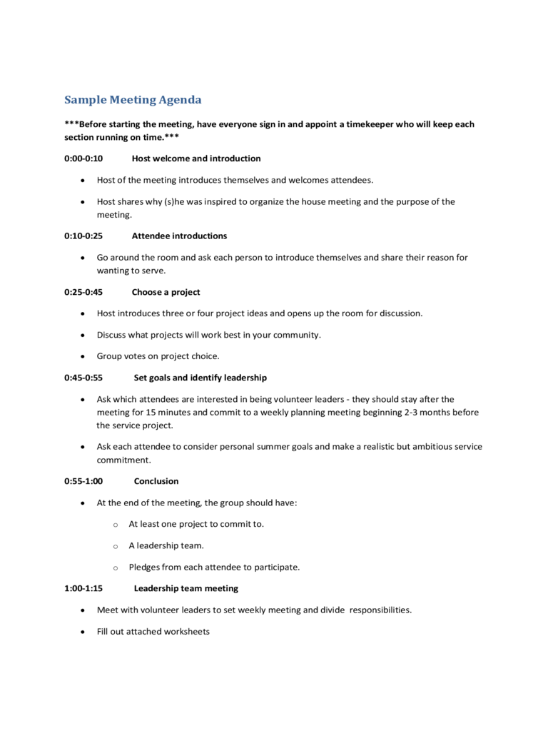 project meeting agenda template