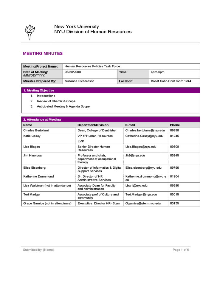 project meeting minutes template new york university