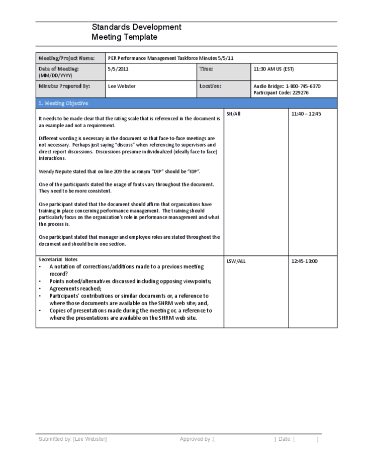 Standards development meeting minutes template free download for Standard minutes of meeting template