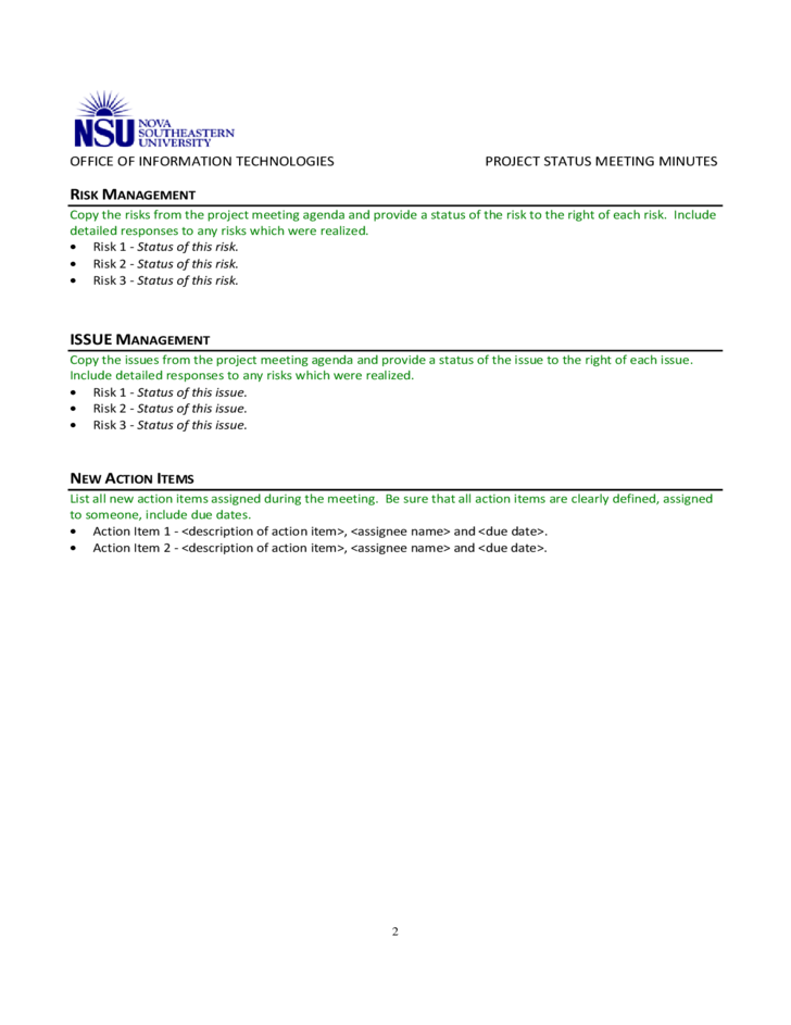 project status meeting minutes template free download